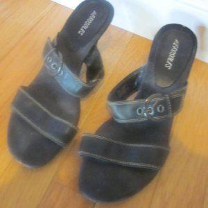 Aerosoles Black Double Stitched Strap Sandals